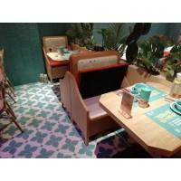 长沙嘟嘟泰国小馆案例卡座沙发带储物柜颜色定制